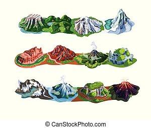 bonito, montanha, jogo, paisagens