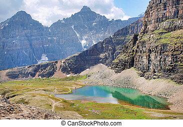 bonito, montanha, montanhas rochosas, panorama, amanhecer