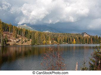 bonito, montanha, natureza, pleso, -, cena, lago, eslováquia, tatra, strbske