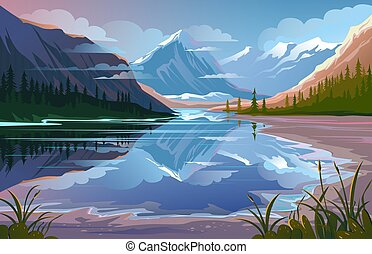 bonito, montanha, noite, natural, paisagem., natureza, paisagem