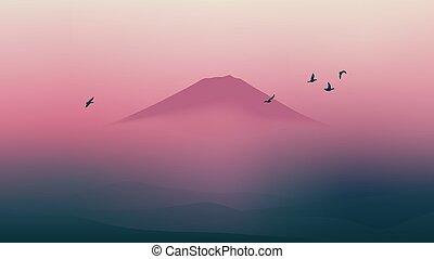 bonito, montanha, panorâmico, céu, fuji, japão, crepúsculo