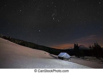 bonito, montanhas, inverno, estrelas, noturna, paisagem
