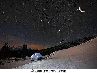 bonito, montanhas, inverno, lua, estrelas, noturna, paisagem