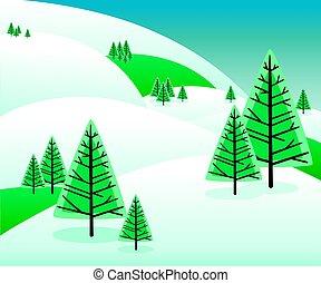 bonito, montanhas, inverno, pinhos, claro, neve, tempo, tarde, fir-trees, coberto, eles., paisagem