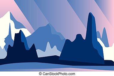 bonito, montanhas, natural, ilustração, vetorial, noturna, paisagem