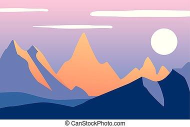 bonito, montanhas, noite, natural, ilustração, vetorial, tempo, dia, paisagem