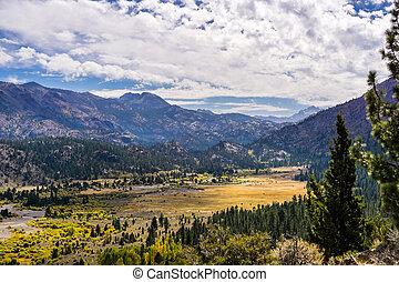 bonito, montanhas, oriental, ensolarado, dia outono, califórnia, sierra, vale