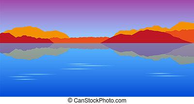 bonito, montanhas, outono, lago, paisagem