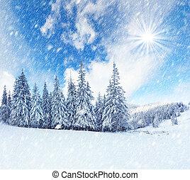 bonito, montanhas., paisagem inverno, snowstorm