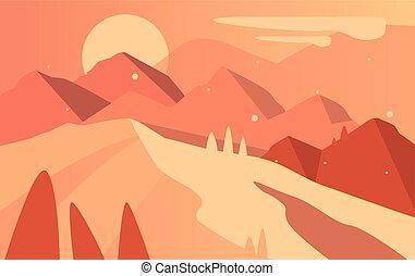 bonito, montanhas, paisagem, natural, marrom, natureza, sol, cena, ilustração, cores, vetorial