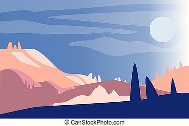 bonito, montanhas, paisagem, natural, natureza, sol, cena, ilustração, manhã, vetorial