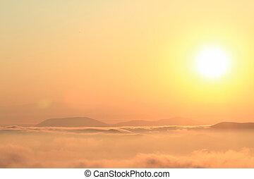bonito, montanhas, panorâmico, sobre, pôr do sol, vista