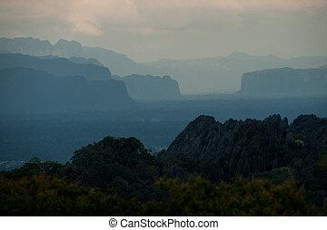 bonito, montanhas, pedra calcária, lanscape, após, laos, pôr...