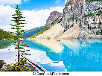 bonito, montanhas, rochoso, canoagem, turistas, paisagem