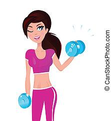 bonito, morena, ajustar, mulher, exercitar, com, pesos, em,...