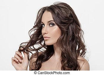 bonito, morena, cacheados, longo, hair., woman.