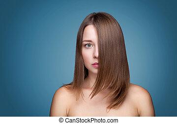 bonito, morena, com, longo, cabelo reto