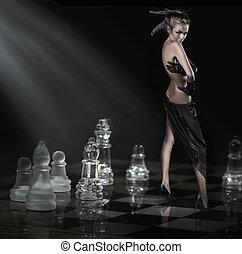 bonito, morena, ficar, ligado, um, chessboard