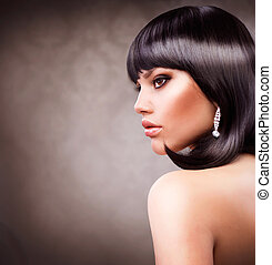 bonito, morena, girl., haircut., penteado