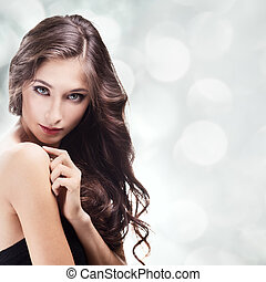 bonito, morena, girl., saudável, cabelo longo