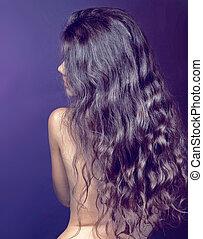 bonito, morena, girl., saudável, longo, cabelo ondulado