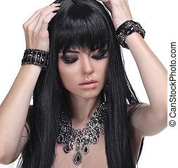 bonito, morena, girl., saudável, longo, hair., jóia, e, beauty., moda, foto