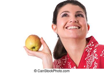 bonito, morena, maçã, segurando