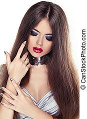 bonito, morena, menina, com, lábios vermelhos, e, saudável, cabelo longo, isolado, branco, experiência.