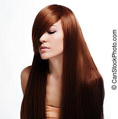bonito, morena, menina, com, saudável, cabelo longo