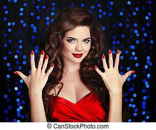bonito, morena, menina, com, saudável, cabelo ondulado, estilo, e, lábios vermelhos, maquilagem