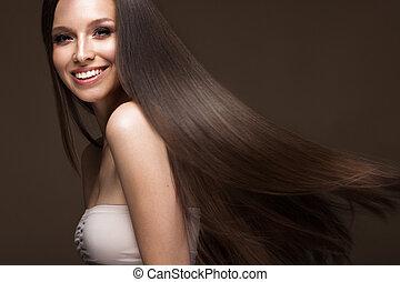 bonito, morena, menina, em, movimento, com, um, perfectly, liso, cabelo, e, clássicas, make-up., beleza, face.