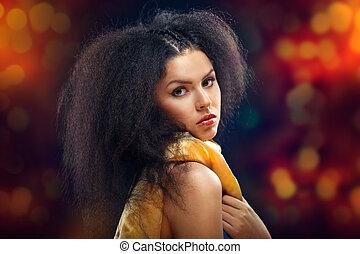 bonito, morena, menina, retrato, sobre, escuro, experiência., saudável, cabelo preto
