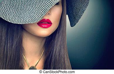 bonito, morena, modernos, lábios, mulher, pretas, excitado, chapéu, vermelho