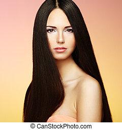 bonito, morena, mulher, com, cabelo longo