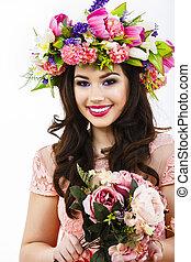 bonito, morena, mulher, com, um, grupo, flores mola, maquilagem, e, especiais, celebração, penteado