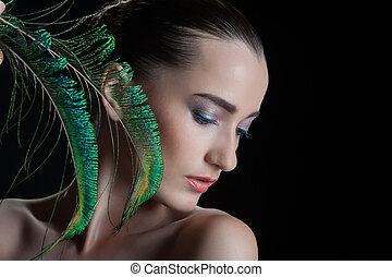 bonito, morena, mulher jovem, com, pavão, estilo, maquiagem,...