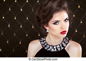bonito, morena, mulher, modelo, com, maquilagem, e, hairstyle., fashio