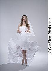 bonito, morena, noiva, fundo, casório, menina, vestido, branca, feliz