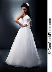 bonito, morena, noiva, pódio, casório, vestido branco