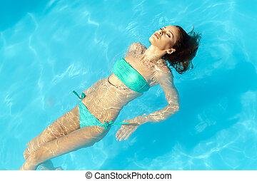 bonito, morena, piscina, natação