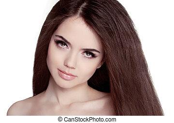 bonito, morena, retrato mulher, com, saudável, hair., claro, fresco, skin., menina sorridente, isolado, ligado, um, branca, experiência.
