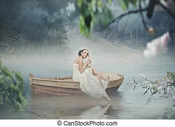 bonito, morena, romanticos, sobre, posar, paisagem