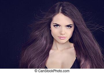 bonito, morena, saudável, cabelo longo, girl.
