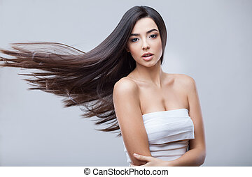 bonito, morena, saudável, cabelo longo, menina