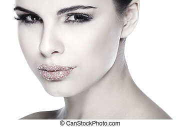 bonito, morena, sexual, lábios, isolado, fundo, açúcar, cosméticos, emoções, retrato, branca, espalhado