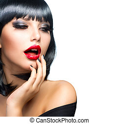 bonito, morena, sobre, lábios, white., retrato, menina, sensual, vermelho