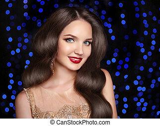 bonito, morena, sorrindo, com, longo, retro, cabelo