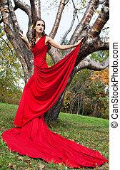 bonito, morena, vestido, vermelho