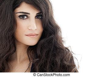 bonito, morena, woman., cacheados, longo, hair.