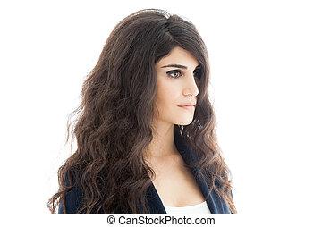 bonito, morena, woman., cacheados, longo, hair., isolated.